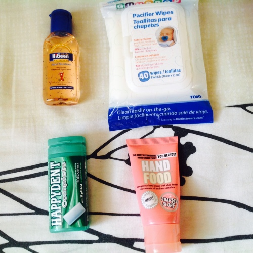 Gum and hand- sanitizer are often used, the hand cream rarely and the pacifiers wipes- NEVER!
