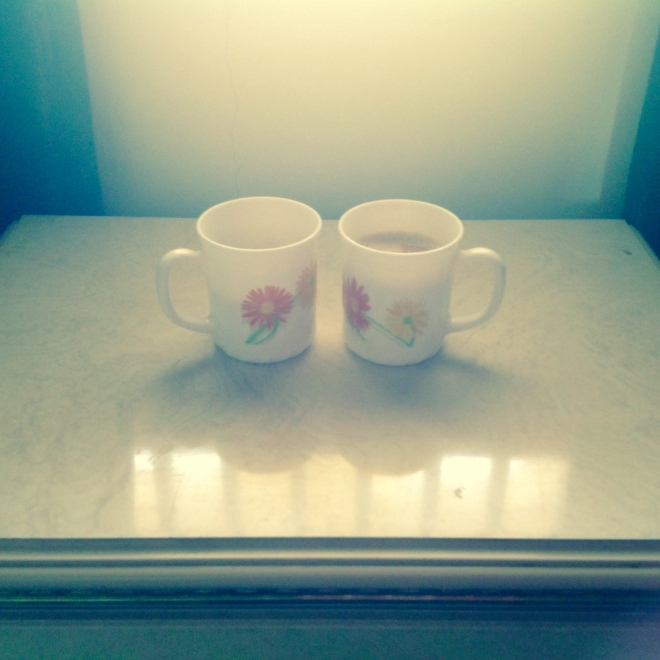 One's coffee and the other is tea...guess who is which?