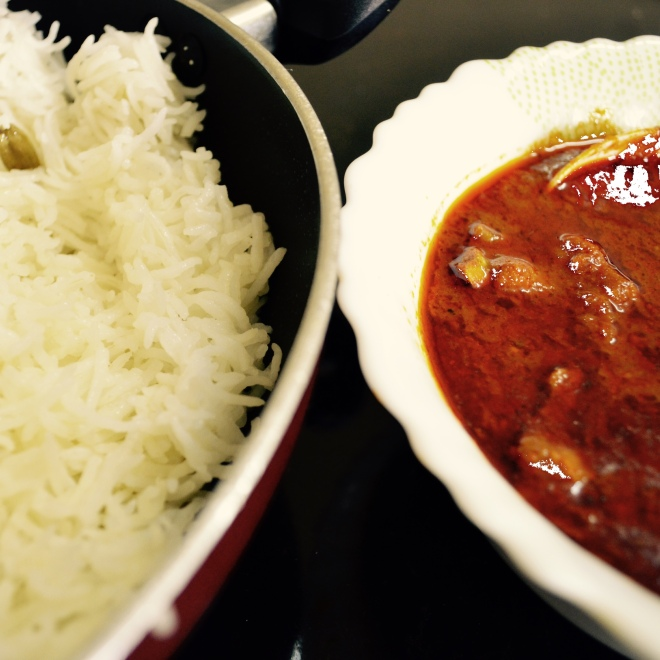 Flavoured rice cooked with a dash of clarified buter and spicy, aromatic lamb curry.