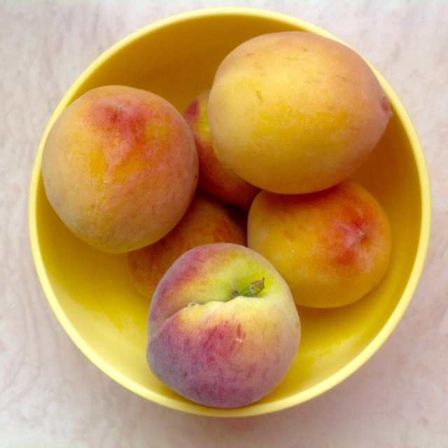 Succulent, sweet and sour peaches and cherries (above).